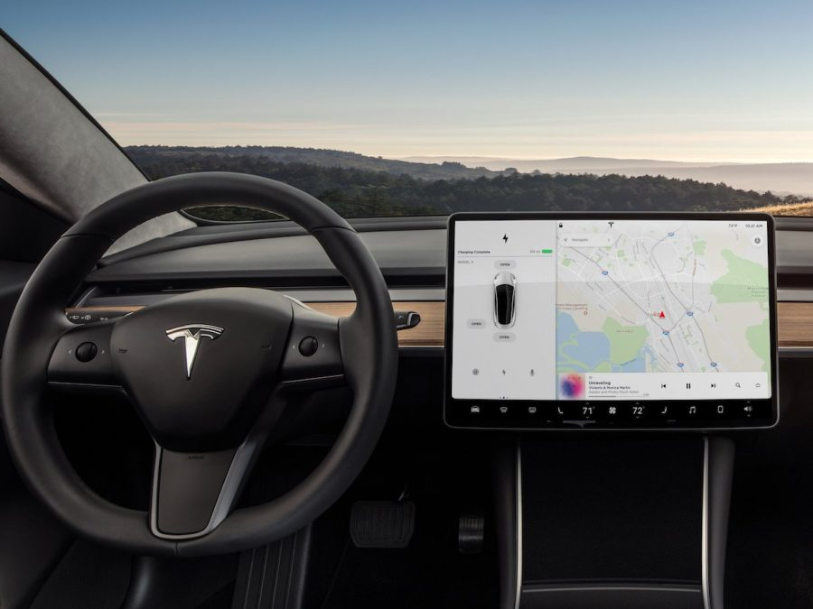 The Tesla Model 3's  center console is completely replaced with a giant touch screen.