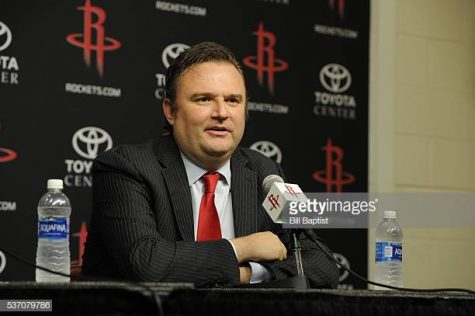 HOUSTON, TX - June 1:  Houston Rockets GM Daryl Morey is interviewed as the Rockets announce D