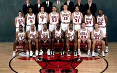 CHICAGO - 1998: The 1997-98 NBA Chicago Bulls pose for a team portrait in Chicago, IL. Front row (left to right): Randy Brown, Ron Harper, Scottie Pippen, Michael Jordan, Dennis Rodman, Jud Buechler, Steve Kerr. Second row: , Rusty LaRue, Dickey Simpkins, Toni Kukoc, Joe Klein, Luc Longley, Bill Wennington,  Scott Burrell, Keith Booth. Back Row: Chip Schaefer (Trainer), Frank Hamblen  (Asst Coach), Bill Cartwright (Asst. Coach), Head coach Phil Jackson, Jimmy Rodgers (Asst. Coach) , and Tex Winter (Asst. Coach), John Ligmanowski (Equip Manager). NOTE TO USER: User expressly acknowledges  and agrees that, by downloading and or using this  photograph, User is consenting to the terms and conditions of the Getty Images License Agreement. Mandatory copyright notice: Copyright NBAE 1998 (Photo by Bill Smith/ NBAE/ Getty Images)